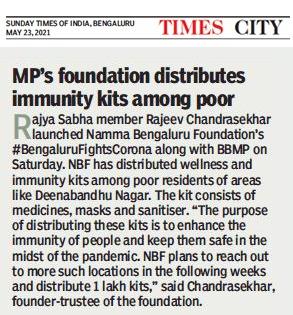 Founder Trustee, Namma Bengaluru Foundation and Member of Parliament Sri Rajeev Chandrasekhar launches next phase of #BengaluruFightsCorona