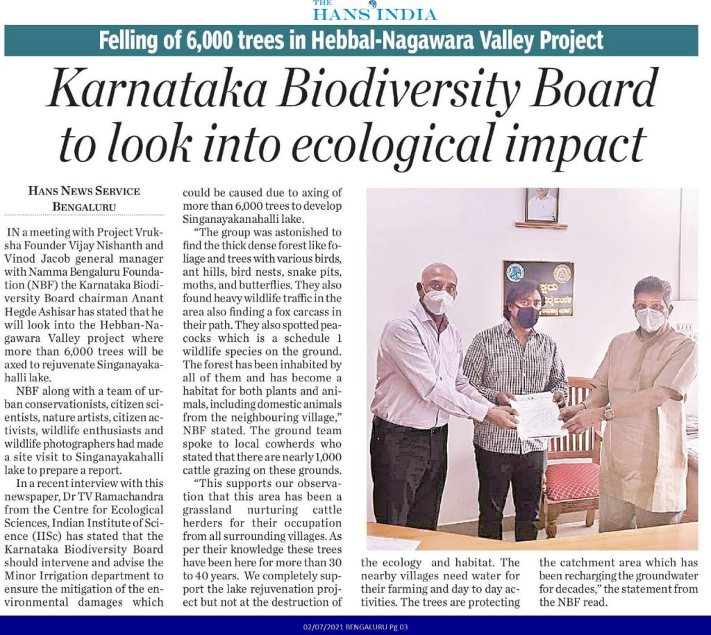 Letter submitted to Sri Anant Hegde Ashisar, Chairman, Karnataka Biodiversity Board requesting to organise a joint visit with all stakeholders to the Singanayakanahalli Lake.